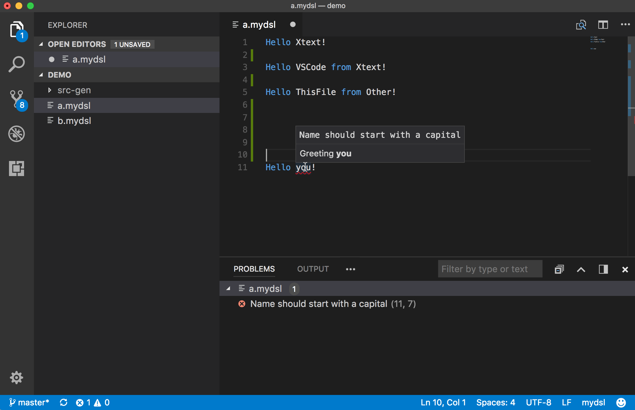 Xtext in Visual Studio Code via Language Server Protocol