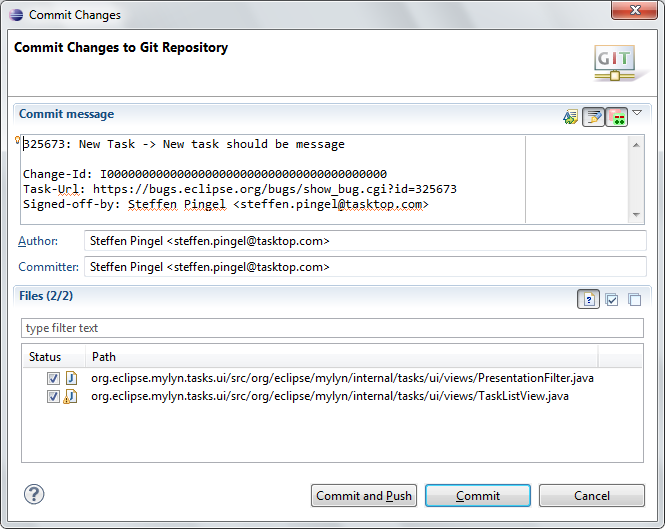 commit changes to git repository