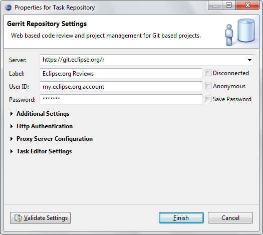 gerrit repository settings