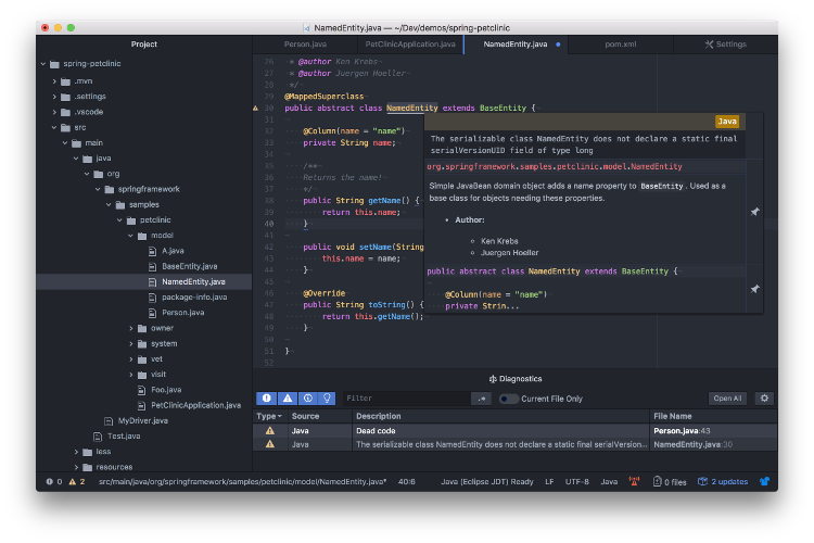 Atom with ide-java extension