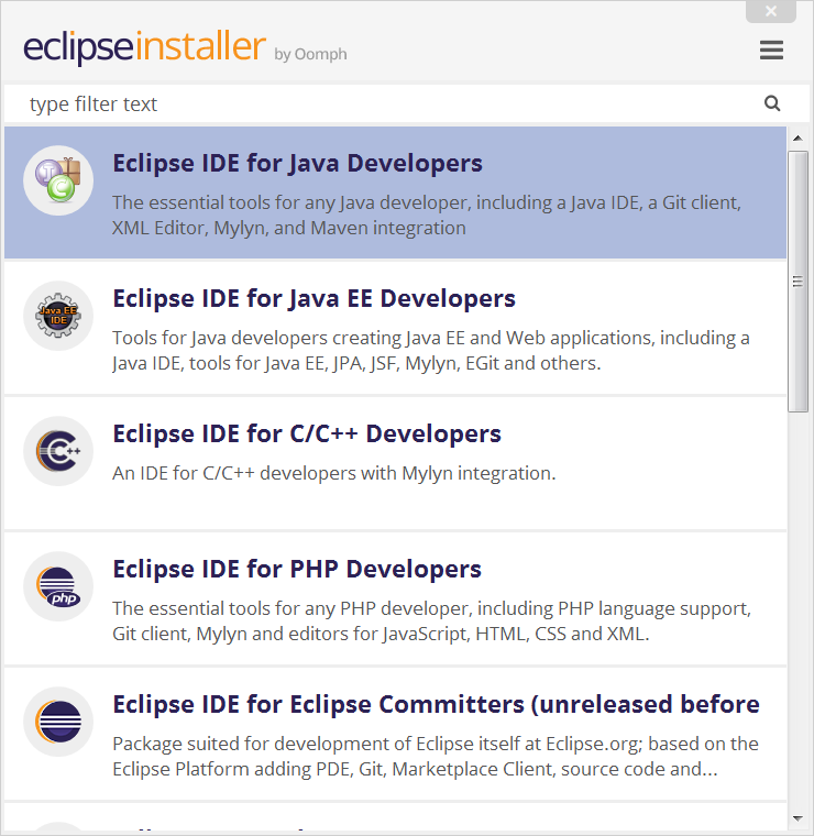 Screenshot of the Eclipse packages.