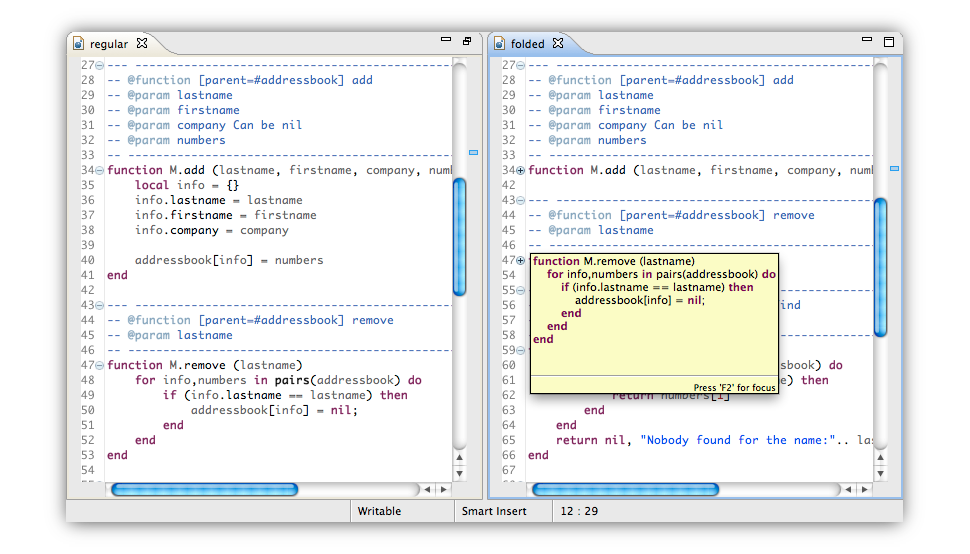Code Folding screenshot