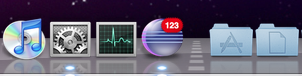 Short text overlay over the dock icon