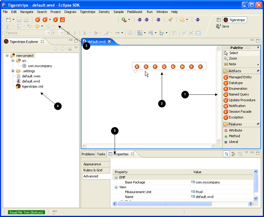 a class diagram editor overviewmain diagram editor window