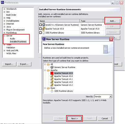 how to add new server runtime environment in eclipse