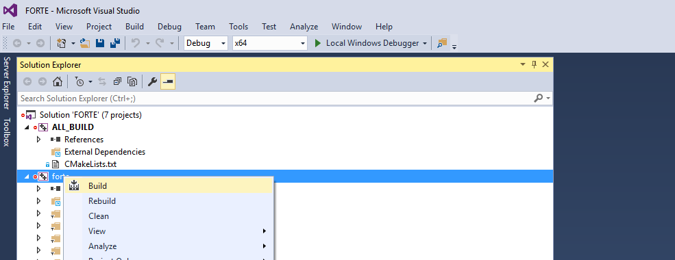 Compile by right-clicking on forte in the Solution Explorer window, and then click Build