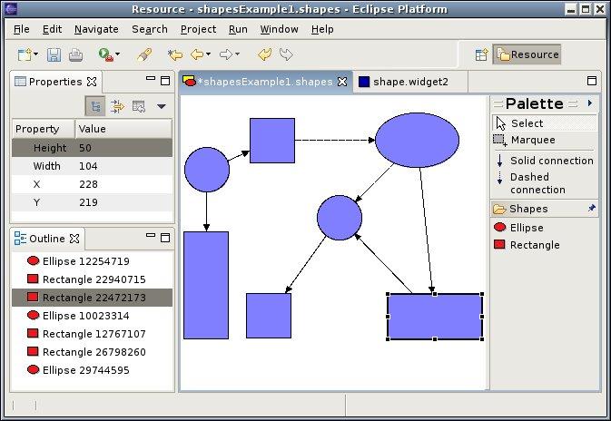 a shape diagram editorscreen shot of the diagram editor
