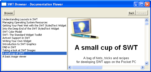 Viewing HTML pages with SWT Browser widget