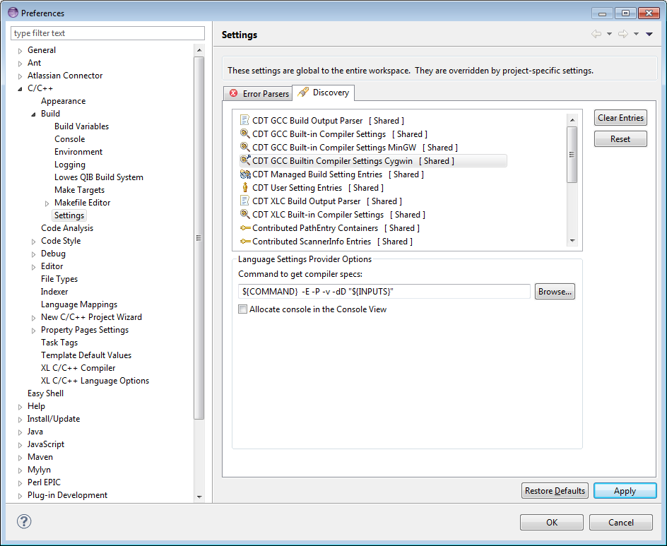 Setting Up Include Paths and Macros for C/C++ Indexer | The Eclipse