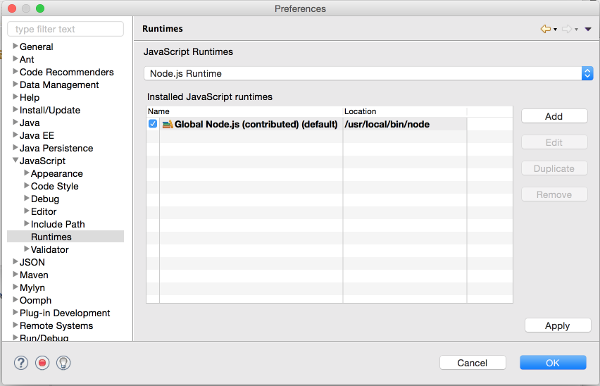Node.js Runtime Preferences Page
