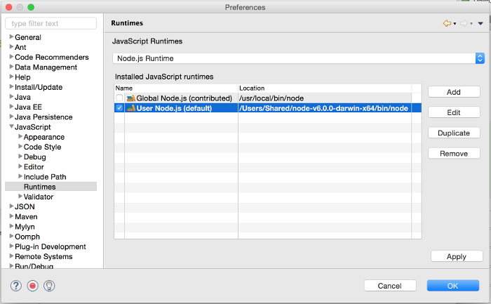 Node.js Runtime Preferences Page 2