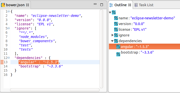 Newcomers on board: Bower, npm & JSON editor! | The Eclipse