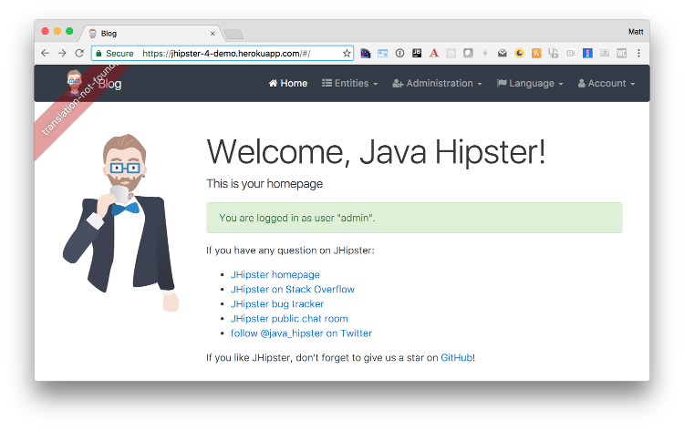 JHipster 4 demo on Heroku