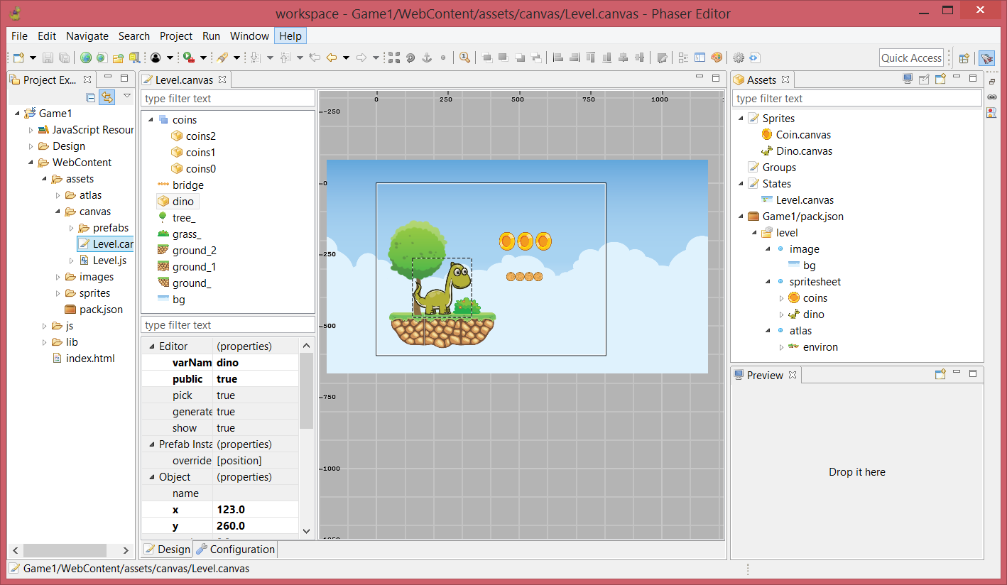 Phaser Editor - Eclipse-based IDE for HTML5 games creation