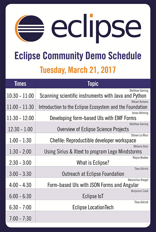 Tuesday Demo Schedule