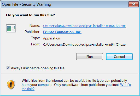 Screenshot of the Eclipse Installer executable.