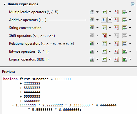 formatter wrap binary expressions