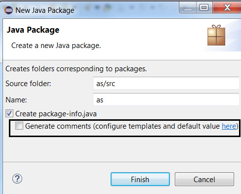 package info comment generation checkbox