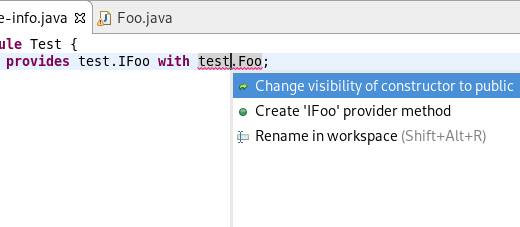 service provider change constructor visibility
