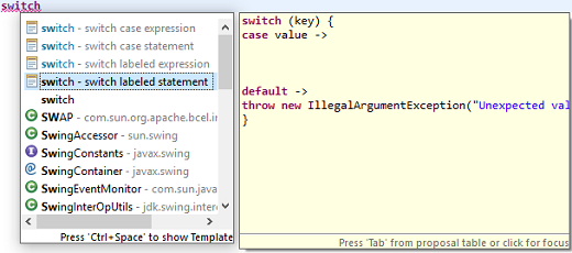 switch labeled statement