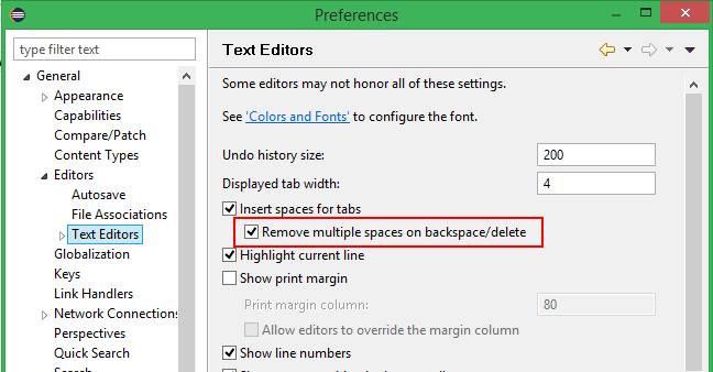 delete spaces as tabs