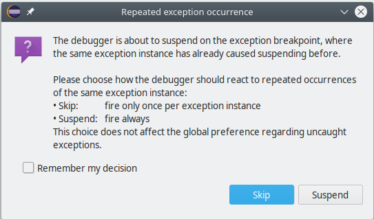 dialog exception recurrence
