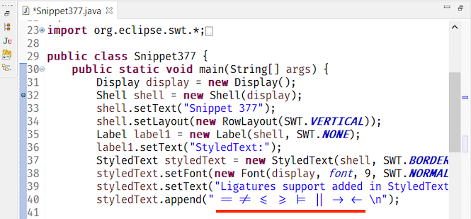 eclipse ligatures support win