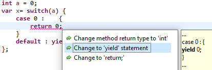 quickfix switch expression return to yield