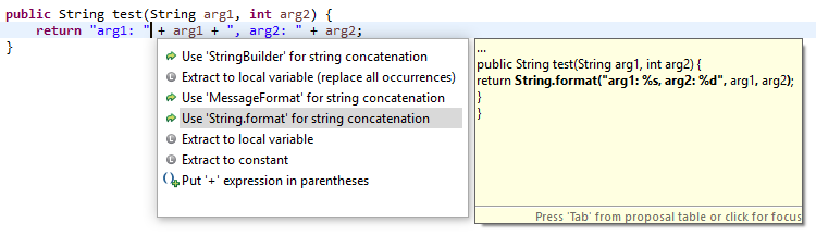 String.format quickfix