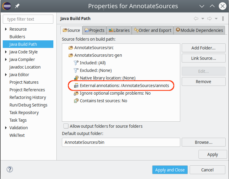 annotate sources config