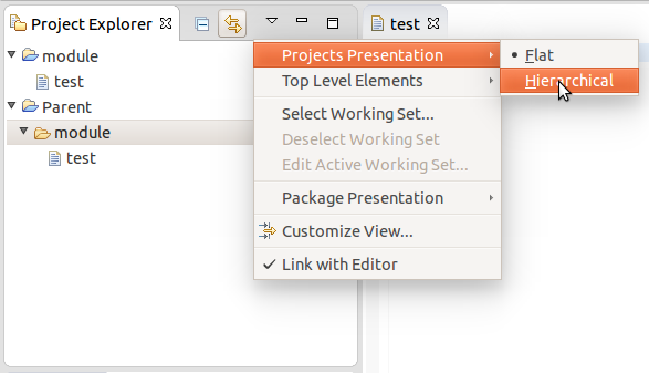 Hierarchical view of projects can be triggered from the Project Explorer view menu, under the Projects Presentation item