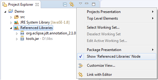 View menu > Show 'Referenced Libraries' node