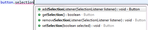 Popup with proposals like addSelectionListener(..), getSelection(), etc.