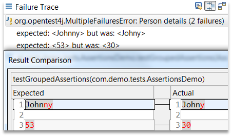 grouped assertions result comparison