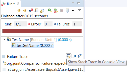 show junit failure trace in console view