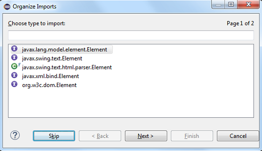skip button in organize imports dialog