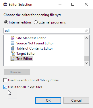 editor selection dialog one click for all files by type