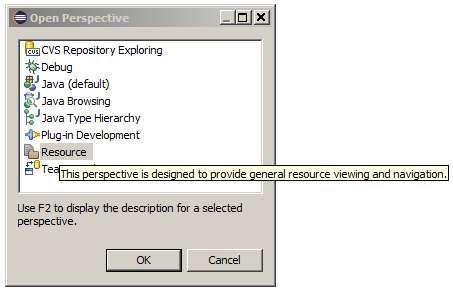 open perspective dialog description
