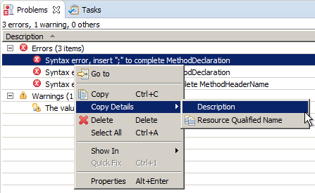 problems and tasks copy details submenu