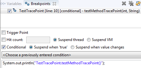 toggle trace point conditional breakpoint