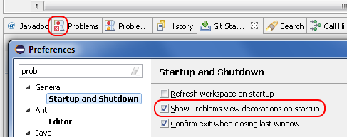problems view startup preference