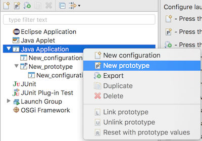 prototype java launch configuration