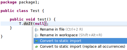 quickfix convert to static import