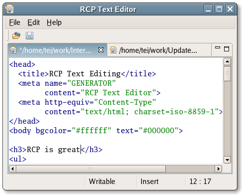 Eclipse Rich Client Text Infrastructure