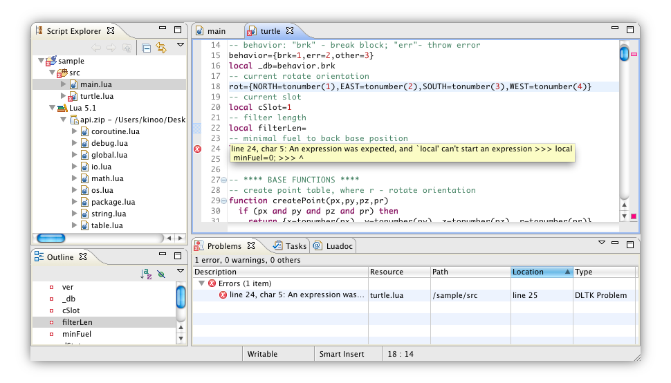 Lua Development Tools, an IDE for the Lua programming language