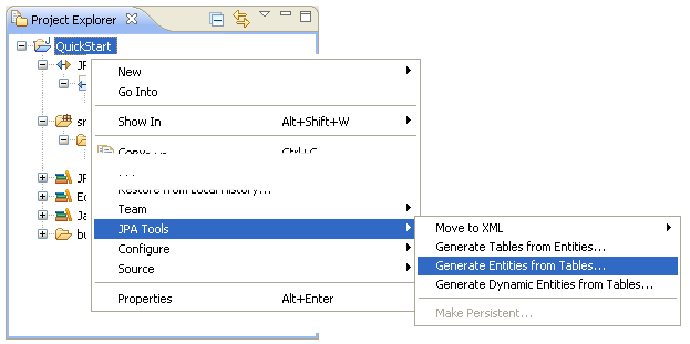 Generating entities from tables using the jpa tools generate entities menu option ccuart Image collections